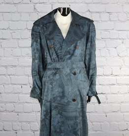 Unknown Brand: 1970's Vintage Long Blue Printed Trench Coat for Gals