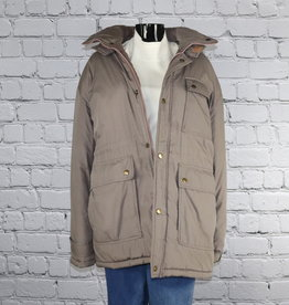William Barry Struggle Gear: 1980's to 1990's Vintage Grey Coat with Pink Zippers for Gals