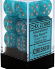 Chessex - CHX 12-die 16mm d6 Set Aqua w/silver Cirrus