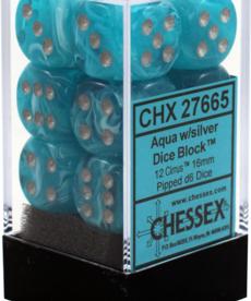 Chessex - CHX 12-die 16mm d6 Set Aqua w/silver Cirrus