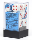 Chessex - CHX 12-die 16mm d6 Set Astral Blue-White w/ Red