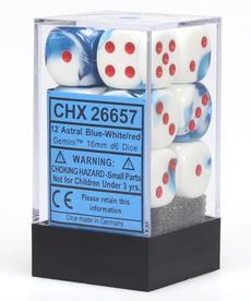 Chessex - CHX 12-die 16mm d6 Set Astral Blue-White w/ Red