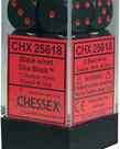 Chessex - CHX 12-die 16mm d6 Set Black w/red Opaque