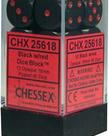 Chessex - CHX 12-die 16mm d6 Set Black w/red Opaque