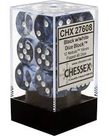 Chessex - CHX 12-die 16mm d6 Set Black w/white Nebula
