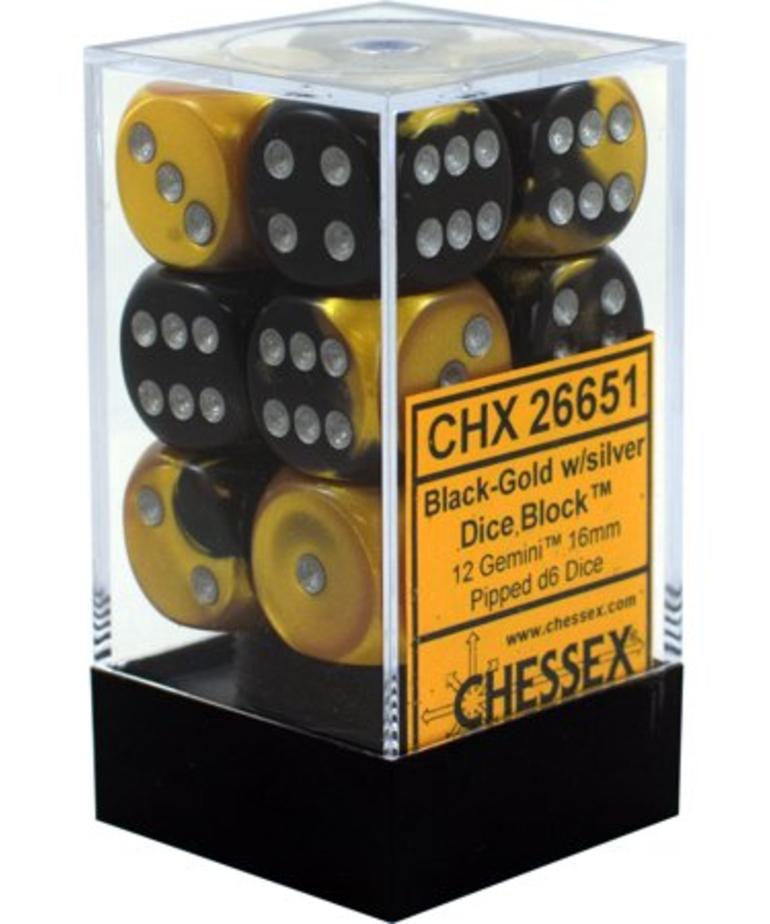 Chessex - CHX 12-die 16mm d6 Set Black-Gold w/Silver Gemini