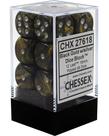 Chessex - CHX 12-die 16mm d6 Set Black-Gold w/silver Leaf