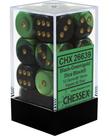 Chessex - CHX 12-die 16mm d6 Set Black-Green w/gold Gemini