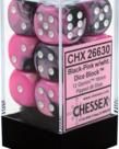 Chessex - CHX 12-die 16mm d6 Set Black-Pink w/white Gemini
