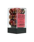 Chessex - CHX 12-die 16mm d6 Set Black-Red w/gold Gemini