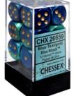Chessex - CHX 12-die 16mm d6 Set Blue - Teal w/ Gold