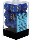 Chessex - CHX 12-die 16mm d6 Set Blue w/gold Vortex