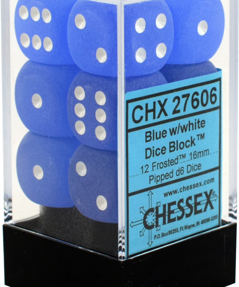 Chessex - CHX 12-die 16mm d6 Set Blue w/white Frosted
