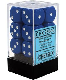 Chessex - CHX 12-die 16mm d6 Set Blue w/white Opaque