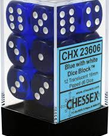 Chessex - CHX CLEARANCE - 12-die 16mm d6 Set Blue w/white Translucent
