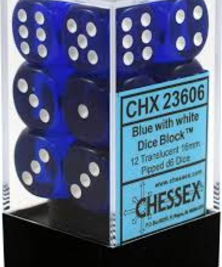 Chessex - CHX 12-die 16mm d6 Set Blue w/white Translucent
