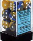 Chessex - CHX 12-die 16mm d6 Set Blue-Gold w/white Gemini