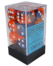 Chessex - CHX 12-die 16mm d6 Set Blue-Orange w/White Gemini