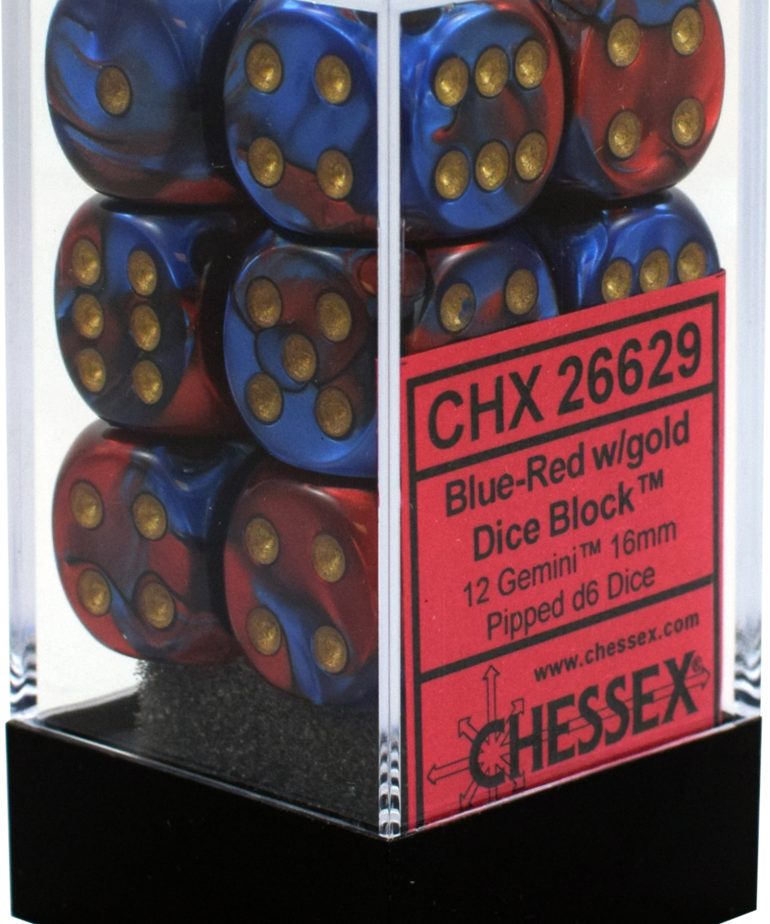 Chessex - CHX 12-die 16mm d6 Set Blue-Red w/gold Gemini