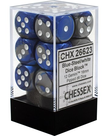 Chessex - CHX 12-die 16mm d6 Set Blue-Steel w/white Gemini