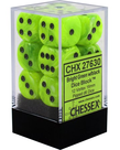 Chessex - CHX 12-die 16mm d6 Set Bright Green w/black Vortex