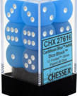 Chessex - CHX 12-die 16mm d6 Set Caribbean Blue w/white Frosted