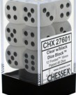 Chessex - CHX 12-die 16mm d6 Set Clear w/black Frosted