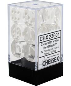 Chessex - CHX 12-die 16mm d6 Set Clear w/white Translucent