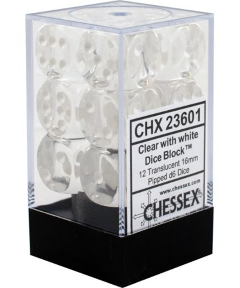Chessex - CHX 12-die 16mm d6 Set Clear w/white Translucent