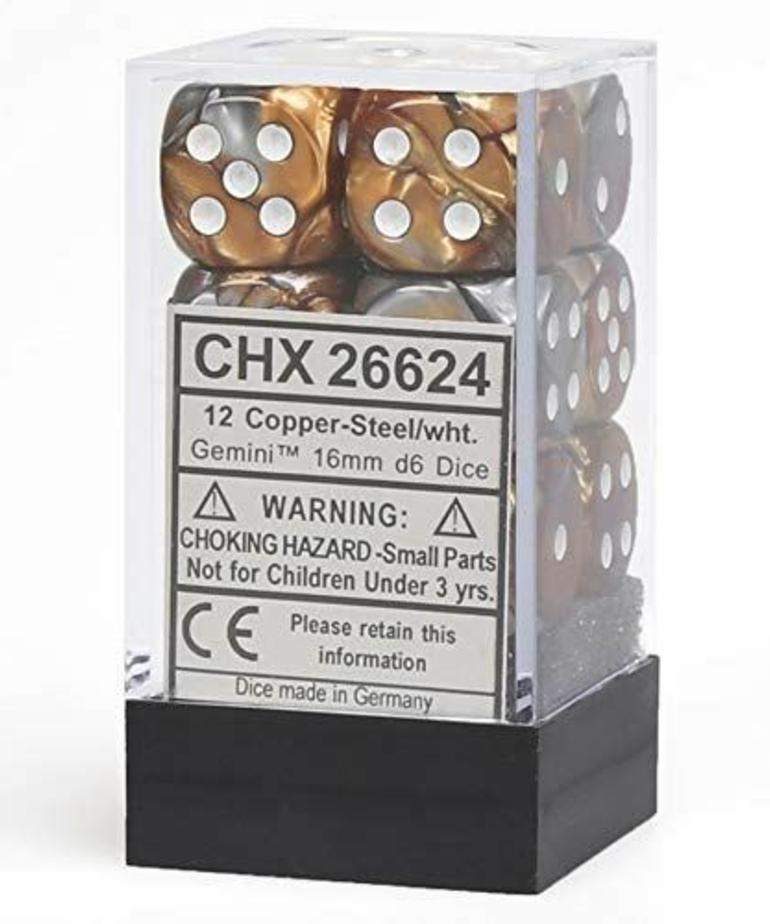 Chessex - CHX 12-die 16mm d6 Set Copper-Steel w/white Gemini