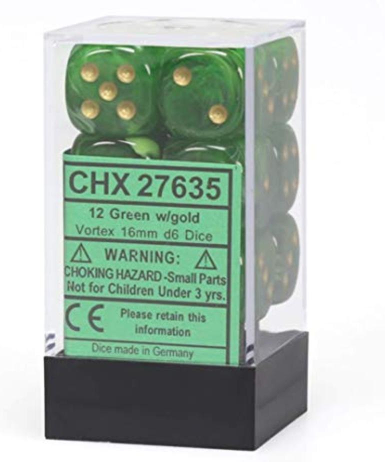Chessex - CHX 12-die 16mm d6 Set Green w/gold Vortex