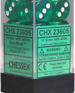 Chessex - CHX 12-die 16mm d6 Set Green w/white Translucent