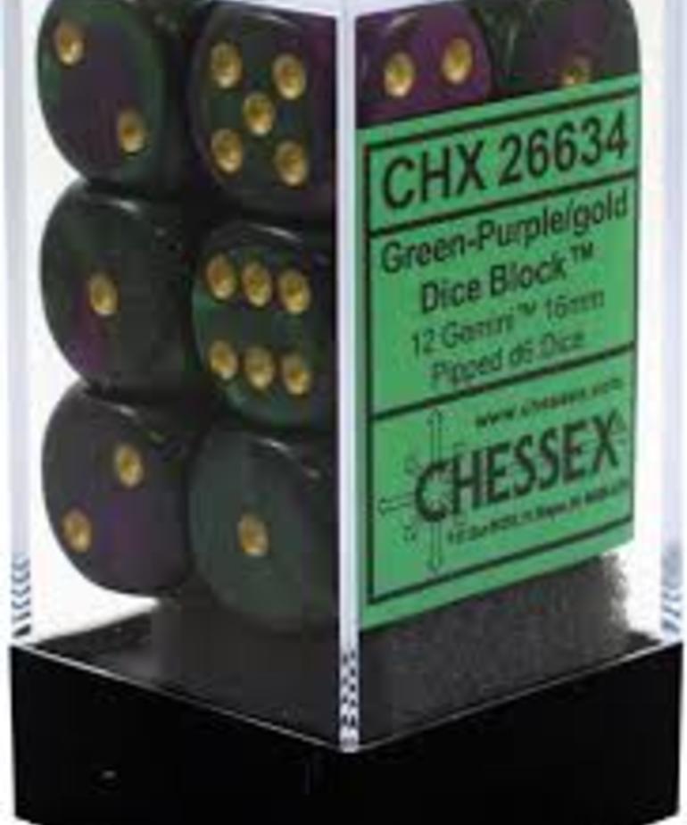 Chessex - CHX 12-die 16mm d6 Set Green-Purple w/gold Gemini