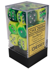 Chessex - CHX 12-die 16mm d6 Set Green-Yellow w/Silver Gemini