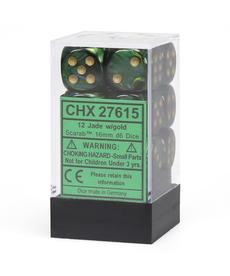 Chessex - CHX 12-die 16mm d6 Set Jade w/gold Scarab