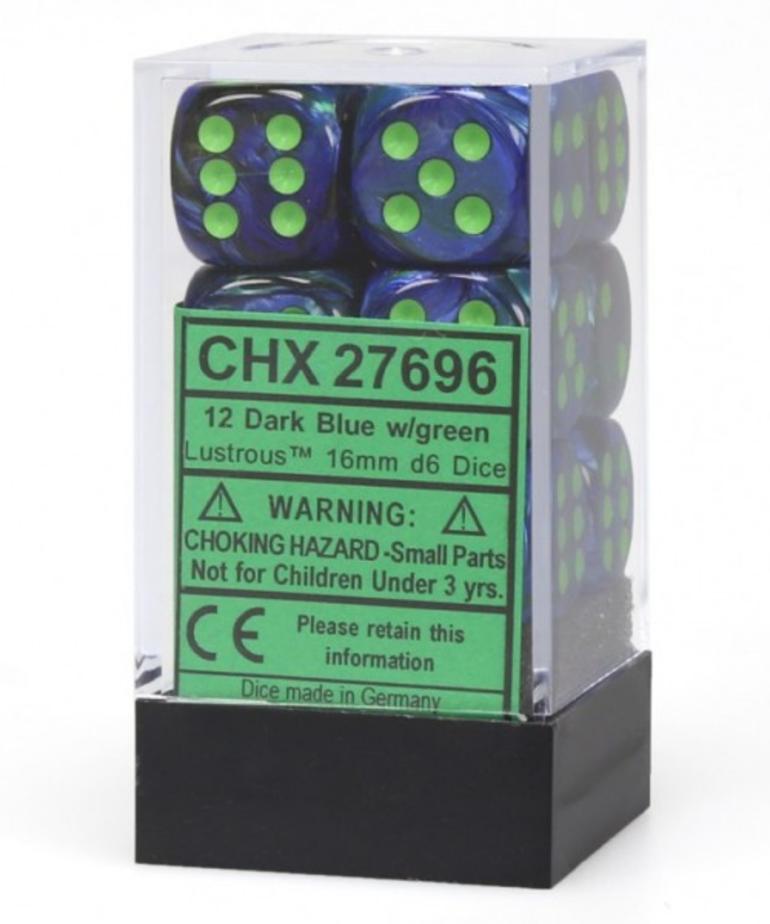 Chessex - CHX 12-die 16mm d6 Set Lustrous Dark Blue w/ Green