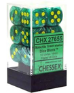 Chessex - CHX 12-Die 16mm d6 Set Malachite Green w/yellow Vortex