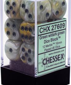 Chessex - CHX 12-die 16mm d6 Set Marble Green w/ Dark Green