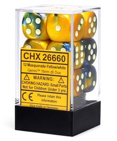 Chessex - CHX 12-die 16mm d6 Set Masquerade - Yellow w/ White