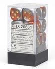 Chessex - CHX CLEARANCE - 12-die 16mm d6 Set Orange - Steel w/ Gold