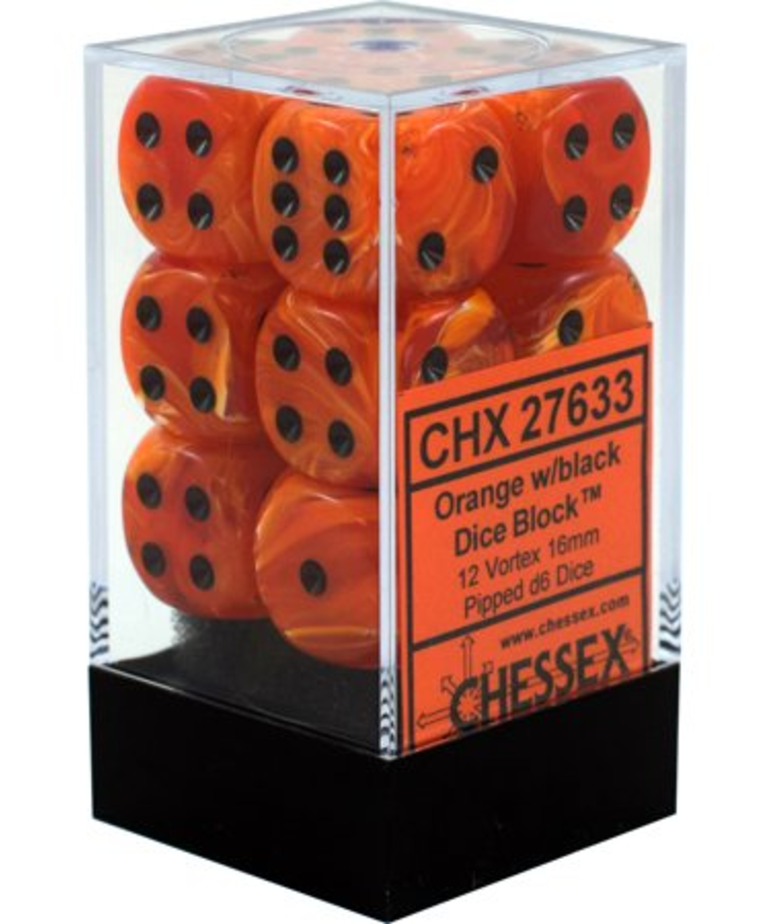 Chessex - CHX 12-die 16mm d6 Set Orange w/black Vortex