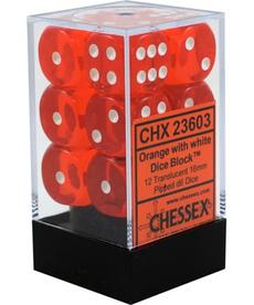 Chessex - CHX 12-die 16mm d6 Set Orange w/white Translucent