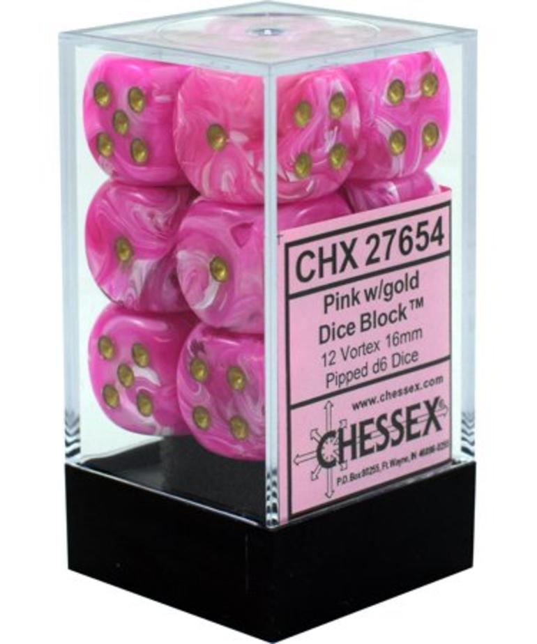 Chessex - CHX 12-die 16mm d6 Set Pink w/gold Vortex