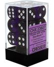 Chessex - CHX 12-die 16mm d6 Set Purple w/white Translucent