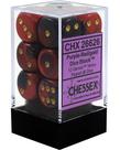 Chessex - CHX 12-die 16mm d6 Set Purple-Red w/white Gemini