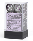 Chessex - CHX 12-die 16mm d6 Set Purple-Steel w/white Gemini