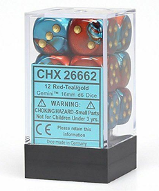 Chessex - CHX 12-die 16mm d6 Set Red - Teal w/ Gold