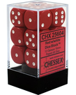 Chessex - CHX 12-die 16mm d6 Set Red w/white Opaque