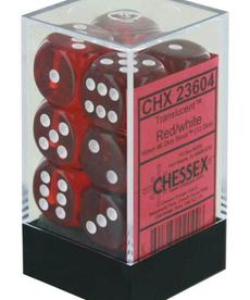 Chessex - CHX 12-die 16mm d6 Set Red w/white Translucent