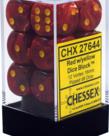 Chessex - CHX 12-die 16mm d6 Set Red w/yellow Vortex